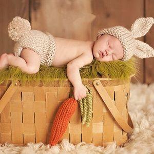 Newborn Baby Knit Cream Bunny w/ Carrot Photo Prop